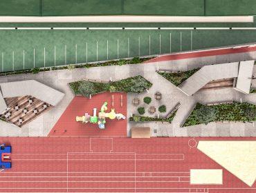 Diseño propuesto para los distintos elementos que compondrán la nueva zona de ocio con cafetería junto al pabellón de Requejada