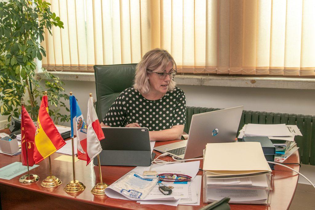 La alcaldesa, Rosa Díaz Fernández, dirigiendo el pleno telemático