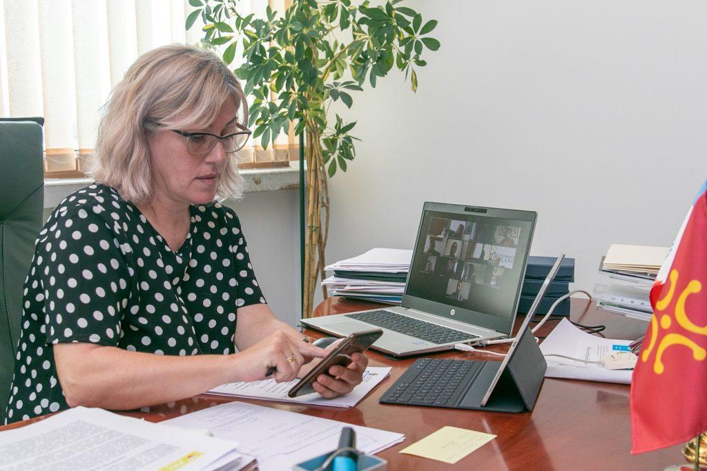 La alcaldesa, Rosa Díaz Fernández, presidiendo el pleno telemático donde se aprobó el programa de ayudas a autónomos y micropymes