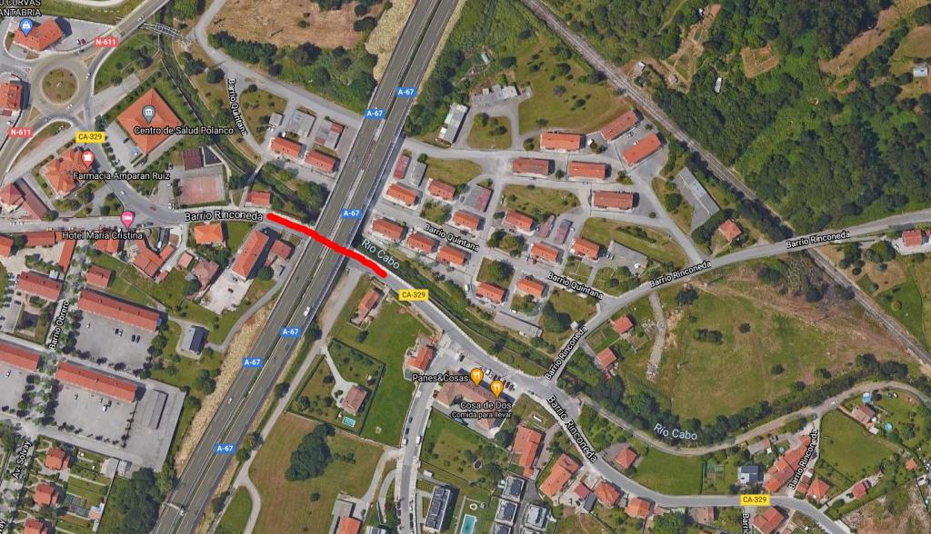 Plano de la zona donde tendrá lugar el corte trafico en Rinconeda