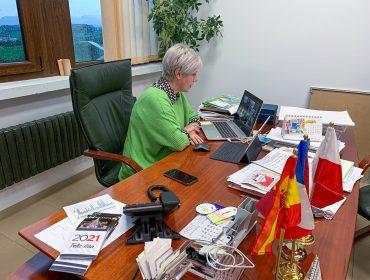 La alcaldesa de Polanco presidiendo un pleno telemático