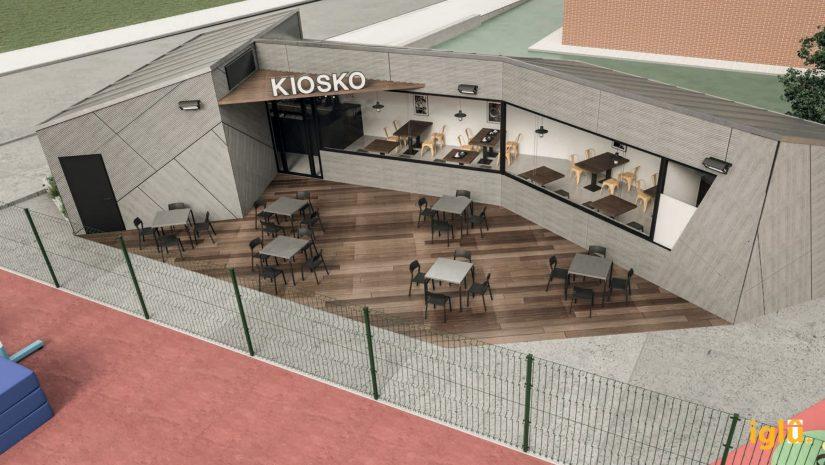 Recreación del diseño del módulo kiosko-cafetería con terraza que se ubica en la zona de ocio deportivo de Requejada